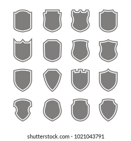 Set of monochrome icons with vector shield for your design