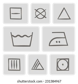 set of monochrome icons with washing symbols for your design