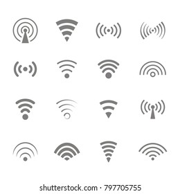 Set of monochrome icons with wireless and wifi symbols for your design