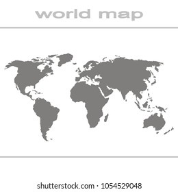 Set of monochrome icons with world map for your design