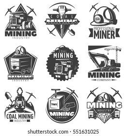 Set of monochrome isolated vintage mining industry labels with lorry twibills and different tools decorative images vector illustration