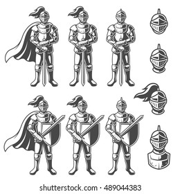 Set of monochrome knights in different poses on white background. Perfect for logo, emblem, label and badges design
