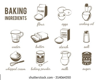 Set of monochrome, lineart food icons: baking ingredients - flour, eggs, oil, water, butter, starch, salt, whipped cream, baking powder, milk, sugar. Vector illustration, isolated on transparent background, eps 10.