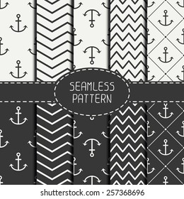 Set of monochrome marine geometri seamless pattern with anchor. Collection of paper for scrapbook. Vector background. Tiling. Stylish graphic texture for your design, wallpaper, pattern fills.