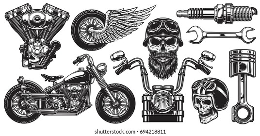 Set of monochrome motorcycle elements. Isolated on white background