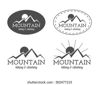 Set of monochrome mountain camp badge, logo and label templates. Travel, hiking, climbing style. Outdoor. Best for adventure sites, travel company etc. Isolated on white background. Vector.