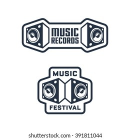 Set of Monochrome Music Themed Badges & Labels. Collection of Solid, Bold, Strong & Clean Emblems & Symbols for Music Festival, Band, Record Label, Musical School, Event, Singer, Night Club etc