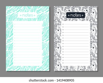 Set of monochrome notes list with abstract illustrations. Works well as  planner, organizer, market list, to do list. Mint green and black. Vector background. Business or education shedule page.