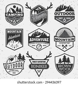 Set of monochrome outdoor camping adventure and mountain badge, emblem logo, label design