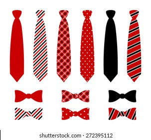Set of monochrome, plaid, checkered, diagonal lined and polka dot silk ties and bow tie pattern template. Red, blue and black color design. vector art image illustration, isolated on white background