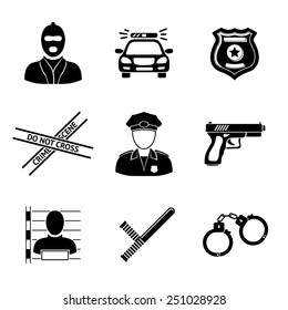 Set of monochrome police icons - gun, car, crime scene tape, badge, police men, thief, thief in jail, handcuffs, police club. Vector