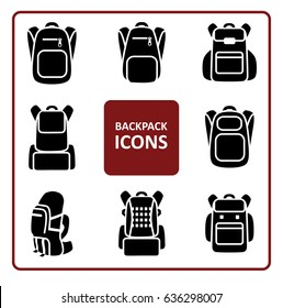 Set of monochrome silhouette backpack icons. Collection of stylized simplified symbols of rucksack.  Knapsack. Schoolbag. Sack. Vector illustration. Black and white