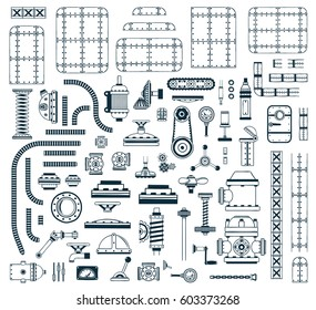 A set of monochrome steampunk spare parts for creating a robot, machine, device, apparatus. Vector illustration.