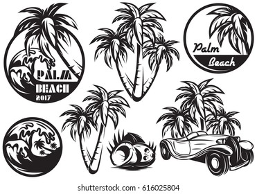 A set of monochrome templates with different palm trees, waves, coconut and a car. Vector illustration