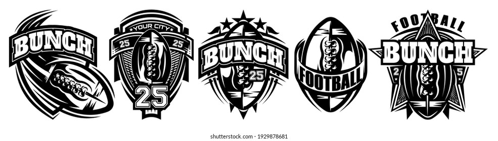 Set of monochrome templates on the theme of American football. Vector editable illustration. Elements for business card design, style, website, print on a t-shirt.