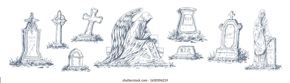 Set of monochrome tombstones made from stone vector graphic illustration. Collection of sketches old cemetery tomb isolated on white. Detailed sculptures and crosses for halloween or funeral