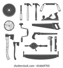 Set of monochrome vector carpentry, woodworkers, sawmill and lumberjack hand tools, design elements isolated on white background