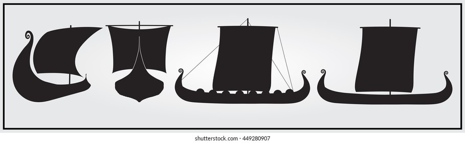 Set of monochrome Viking ship icons. Black and white isolated  ship icons.