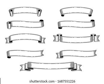 set of monochrome vintage ribbon