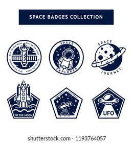 Set of monochrome vintage space and astronaut badges, emblems, logos and labels. Travel to the Universe. For kids and science club. Line art vector illustration.