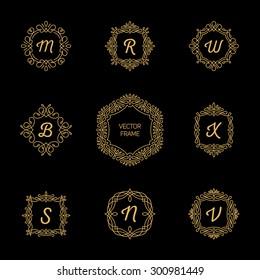 Set Monogram Logos template on Black Background. Good for Restaurant, Boutique, Hotel, Heraldic, Jewelry.