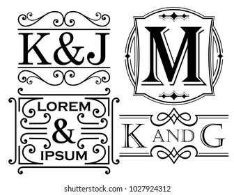 Set of monogram and name designs with letter examples