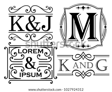 set monogram name designs letter examples stock vector royalty free