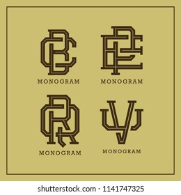 set monogram old fashioned various letters stock vector royalty
