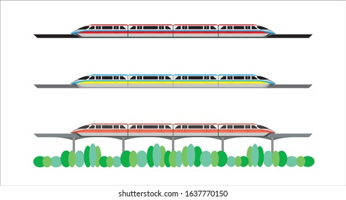 set of monorail sky train - skytrain drawing in vector