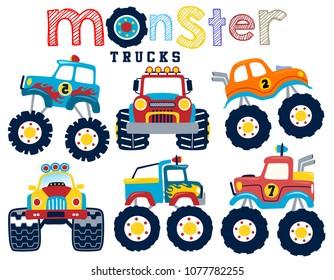 Set of monster truck cartoon vector
