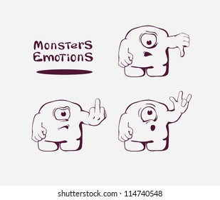 Set of monsters with gestures