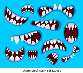 Set of monster's mouth in different poses. Mouth, teeth, tongue and lips isolated on the blue background.