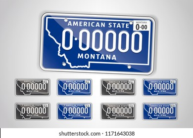 Set Montana auto license plate. Detailed object. Flat vector illustration