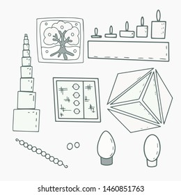 Set of montessori materials. Black and white icons. Сhildren's educational materials: pink tower, frame with  snap, triangle, puzzle, cylinder box, oval body, ovoid