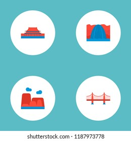Set of monument icons flat style symbols with Tiananmen Square, niagara falls, golden gate and other icons for your web mobile app logo design.
