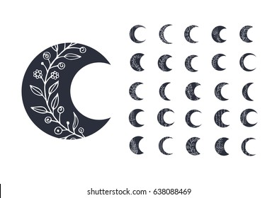 Set of moon icons with floral elements isolated on white background. Vector illustration