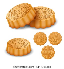 Set of the Mooncakes for the Mid Autumn Festival. Translation of Chinese characters on cake: Happy Mid Autumn. Vector illustration.