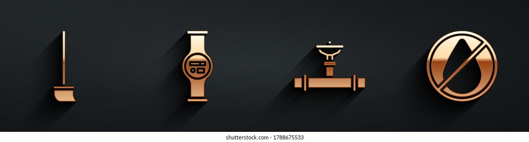 Set Mop, Water meter, Industry pipe and valve and Water drop forbidden icon with long shadow. Vector
