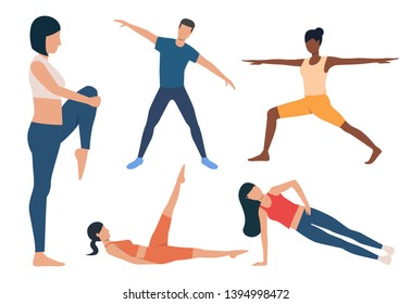 Set of morning exercises. Men and women warming up, doing plank, holding asanas. Activity concept. Vector illustration can be used for topics like yoga or fitness