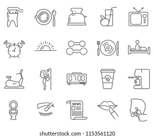 Set of Morning Routine  Related Vector Line Icons. Contains such Icons as coffee, Breakfast, morning exercise, gym, teeth cleaning and etc.