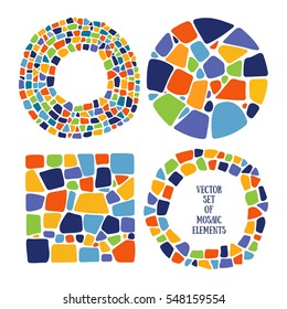 Set of Mosaic design elements in different forms. Ceramic tile texture. Easy to recolor.
