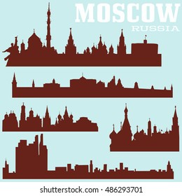 Set of Moscow skylines, Russia. Vector illustrations.