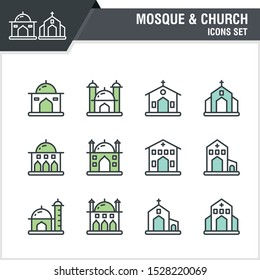 Set of Mosque and church with duo tone outline design simple, trendy, modern and various design sets