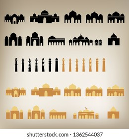 Set of Mosque silhouette mega pack with tower. Basic shape, editable for building, windows, door with ungroup object. Vector Illustration.