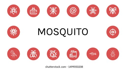 Set of mosquito icons such as Ant, Mosquito repellent, Mantis, Mosquito coil, Moth, No insects, Pesticide, Grasshopper, Cockroach, Anti bug ,