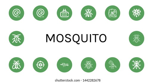 Set of mosquito icons such as Mosquito coil, Mosquito repellent, Weevil, Insect, Moth, Anti bug, Grasshopper, Bed bug, Mantis, Cockroach, Ant ,