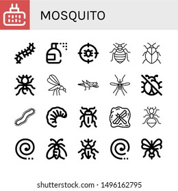 Set of mosquito icons such as Mosquito repellent, Scolopendra, Insecticide, Anti bug, Bed bug, Stink bug, Pheidole, Mosquito, Grasshopper, No insects, Centipede, Larva ,