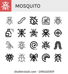 Set of mosquito icons such as Weevil, Ant, Centipede, No insects, Insect, Bed bug, Insecticide, Mantis, Mosquito, Pheidole, Anti bug, Louse, Mosquito coil, Caterpillar ,