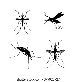 Set of mosquito silhouettes isolated on white background. Vector mosquito silhouettes. Aegypti flying mosquito. Zika virus transmission. Vector aegypti mosquito silhouettes isolated on white. Fly.Pest