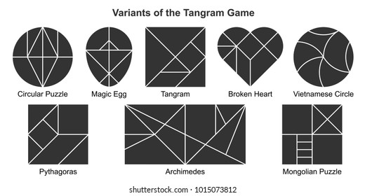 Set of most popular black vector variants of the Tangram game (geometric puzzle). Pythagoras, Archimedes, Magic Egg, Broken Heart, Vietnamese Circle, Circular and Mongolian puzzle. Vector illustration